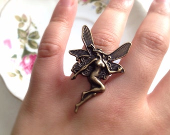 Brass Fairy Ring. Magic. Mystical. Mythical. Dainty. Adjustable Ring. Vintage Style Metal Fairy. Wings. Gifts for Her. Fantasy.