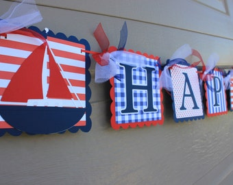 Nautical Party - Anchor and Sailboat Party - Nautical Happy Birthday Banner - Sailboat Birthday Banner - Anchor Birthday Banner