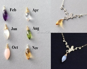 Birthstone Charms, Personalized Necklace, Gemstone Birthstone, Bird on Twig Pendant, Gold-filled Chain, Sterling Silver Chain. Gift. N163.