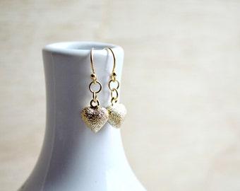 Small Gold Glitter Heart Earrings Dangle Earrings Love 16k Gold Plated Jewelry B111