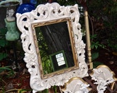 White Mirror, Large Mirror, 21 x 25 Mirror, Shabby Gold Fancy Mirror, Vintage Mirror, Hollywood Regency, Painted Mirror, Syroco Decor