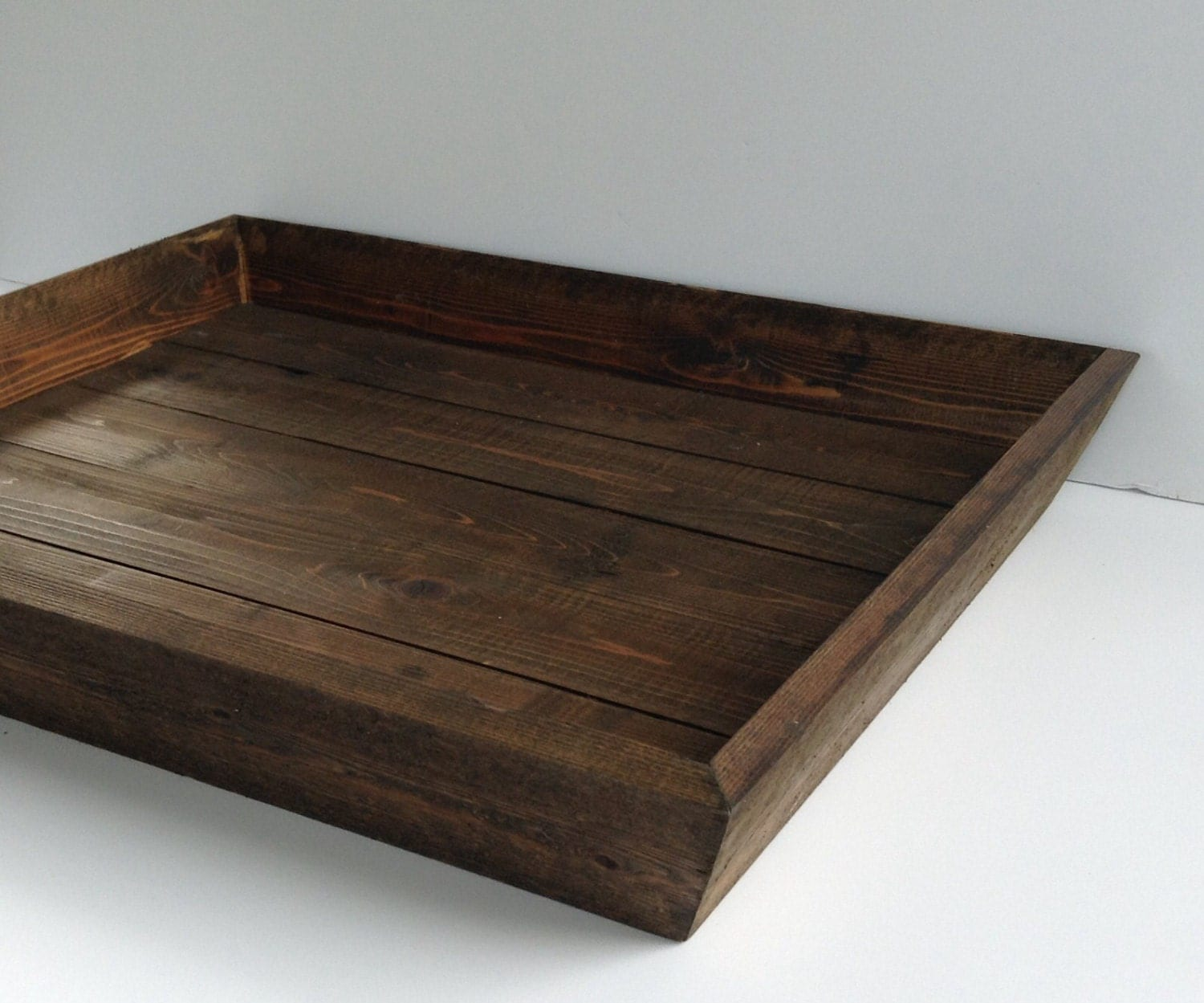 Dark Stained Wood Tray Rustic Box Ottoman Wooden