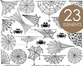 Spider Web Doodle Clip Art, Clipart, Digital Images, PNG, 300dpi, Instant Download