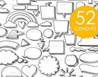 Stitched 3D Shapes Doodle Clip Art, Bubble Speech, Rainbow, Cloud, Instant Download, Downloadable Hand Drawn Clipart, Personal Commercial OK