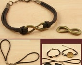 10 Brown with Antique Bronze Findings FAUX SUEDE BRACELET Cord  -Lobster Clasp and Extender Chain Creates Interchangeable Bezel Tray Jewelry