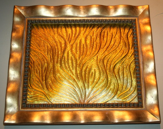 Bas relief glass wall piece carved sunrise yellow by