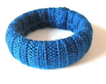 Cobalt Blue Bracelet Vintage Sweater Bangle Knitted in Dazzling Blue Azure Fashion