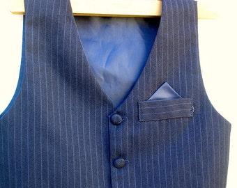 VINTAGE VEST Navy blue pinstripe vest  (3T)