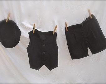 Boy outfit:  Black Shorts, Vest & Hat,  ringbearer outfit, little Boy suit