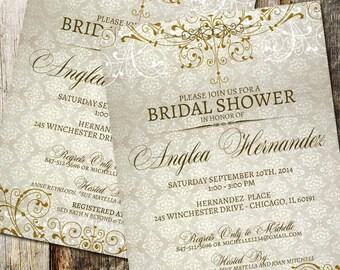 Damask Bridal Shower Invitation, Rustic Vintage Wedding Shower Invite, Vintage Wedding, Rustic Wedding, Digital Download