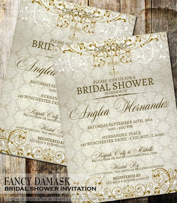 Damask bridal shower invitation rustic vintage wedding shower for Classic bridal shower invitations