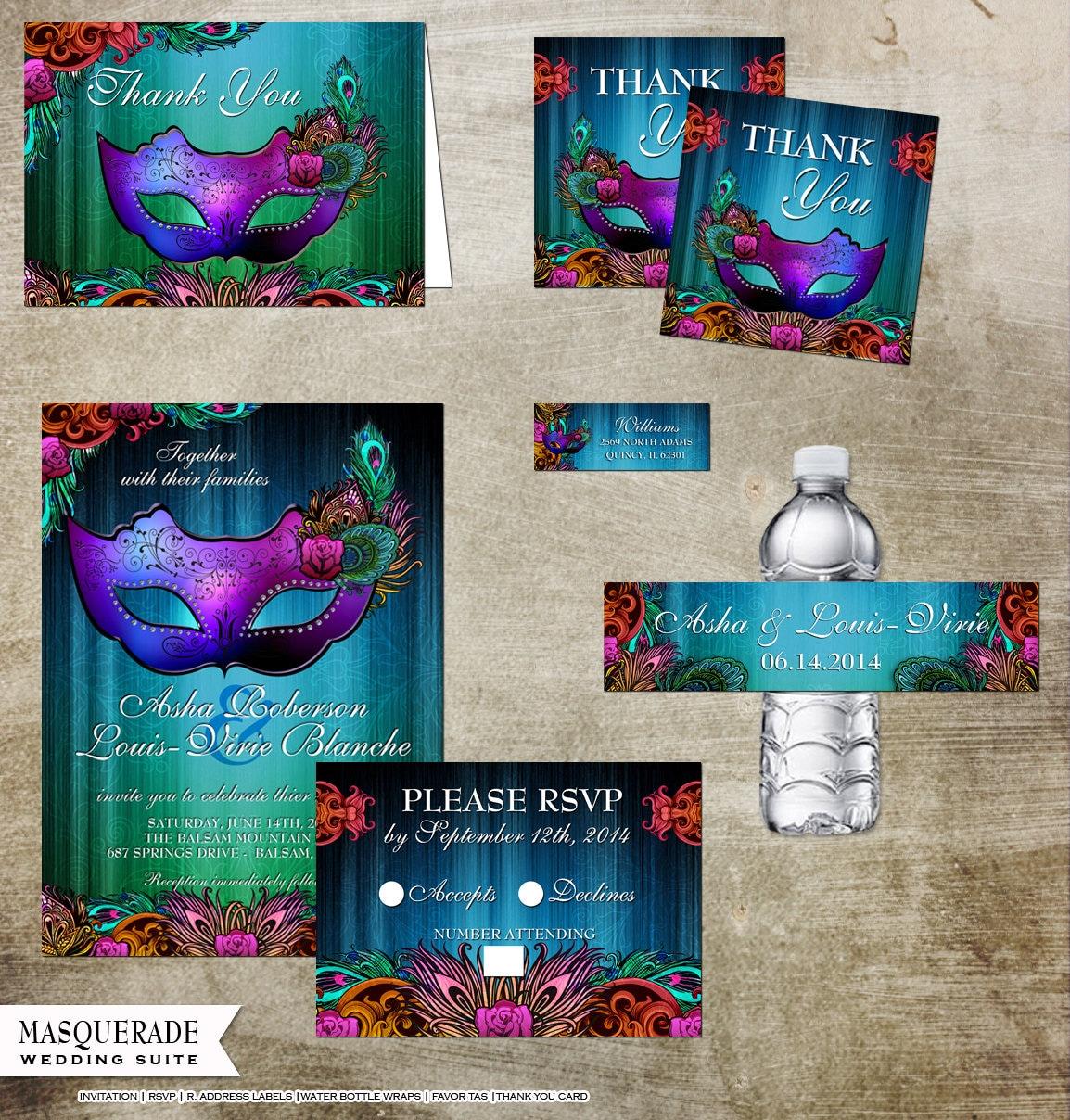 Masquerade Wedding Invitations: Masquerade Wedding Invitation And Rsvp Suite Thank You Favors