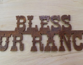 FREE SHIPPING Rusted Rustic Metal Bless Our Ranch Sign