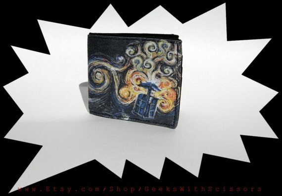 Geeks With Scissors- TARDIS Van Gogh Painting Wallet