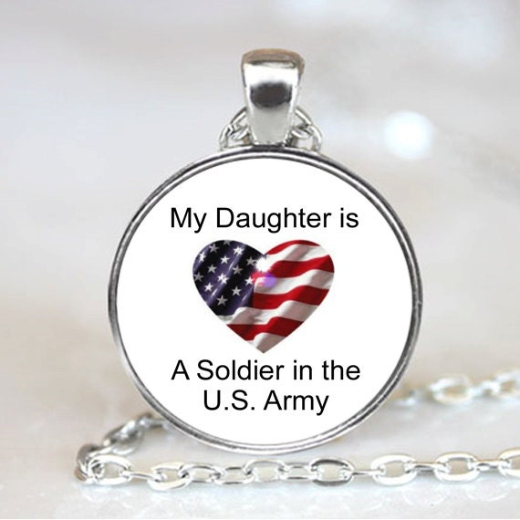 My Daughter is a Soldier in the U.S. Army Patriotic  Necklace Pendant, Patriotic Photo necklace charm (PD0280)