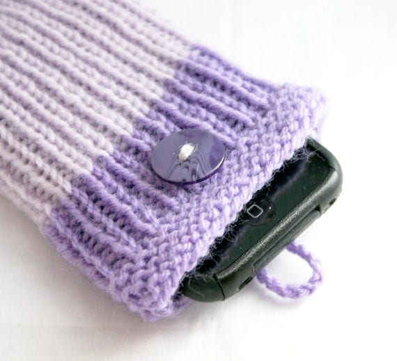 Purple Knit Phone Cozy-  iPhone Knitted Cell Cozy- Gift Card Holder- Orchid, Lilac- Button Closure- Fits Most Phones