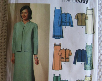 Simplicity Misses Pullover Dress Jacket Sewing Pattern 5677 Size 6 8 10 12 UC FF Uncut