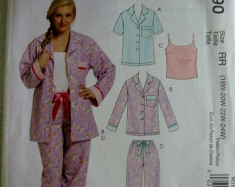 McCalls Misses Pajamas Top Camisole and Pants Pattern M5990 UC Uncut FF 18 20 22 24 w