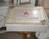 SPECTACULAR OOAK Up cycled Art Deco Box, Shabby Chic,Romantic,Card BOX, Glove Box, French Country, Cottage Chic, Victorian