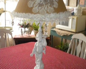 Beautiful Cherub Lamp With Lampshade, Shabby Chic, French Country, Baby's Room, Nursery