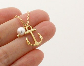 Anchor necklace in gold, with a Swarovski Pearl, simple necklace, strength, sailor anchor charm