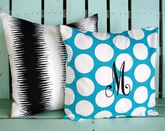 Set of 2 black, white stripe turquoise polka dot print, monogram-dorm room-college gift- decorative pillow cover-gifts under 40-throw pillow
