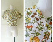 Vintage Floral Cropped Top 1960's - Button Up Top - Cropped Jacket - Von Trapp - Sound of Music