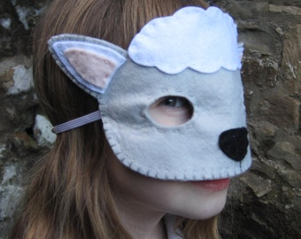 PDF PATTERN: Lamb mask sewing tutorial - Easter felt DIY childrens costume - boys girls Dress Up play Holiday accessory