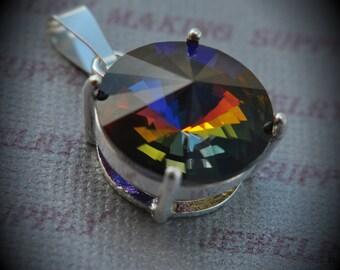 Genuine Rivoli Silver Plated Swarovski Crystal Bermuda Blue Pendant