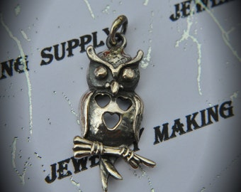 Genuine 925 Sterling Silver Owl Pendant