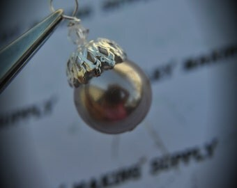 Hand Wire Wrapped Swarovski Crystals Dangle Charms on Silver Plated Headpin And Light Purple Glass Pearl Bead