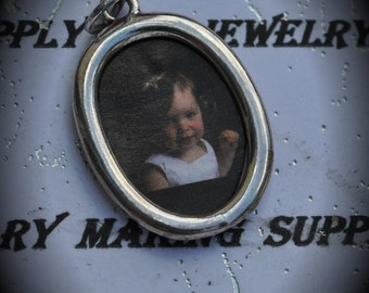 Oval Picture Frame Sterling Silver Plated Charm