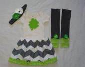 Baby Shower Gift, St Patrick's Day Baby Girl Outfit, Green, White and Gray Chevron Outfit