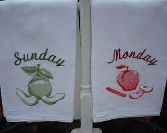 Days of the week fruit flour sack towels. Machine embroidered.