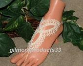 Ivory Crochet Barefoot Sandal, Ivory Sandal, Foot Jewelry, Bridal Shoe, Women's Foot Accessories, Crochet Ivory Anklet, Beach Wedding