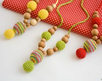 TWO IN ONE Petite Nursing Necklaces + Baby Rattle - Mum Necklace, Breastfeeding, Babywearing, Teething Jewelry, Baby Shower - FrejaToys
