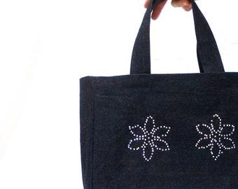Free Shipping //  Denim Bag, Tote bag, Shiny Stone bag, Navy Blue, Young girl bag, Spring bag, Summer, Denim Laptop Bag, Girly bag