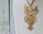 Gold Owl Necklace - Vintage