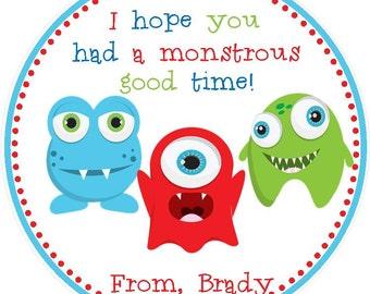 Monster Favor Tags - Little Monster Birthday Favors - Monster Favors ( Set of 12)