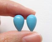 Synthetic Blue Turquoise Half Top Drilled Inverted Acorn Drops 8x12 mm  One Pair H5164