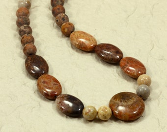 Fossil Coral and Tibetan Agate Necklace, Strand Necklace, Brown