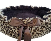 Small Size Dog Bed Brown Plush Leopard with Brown Dot and a Brown Bow