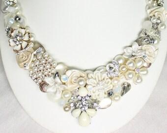 Bridal Bib Necklace- Statement Necklace- Ivory Bib Necklace- Vintage Inspired Statement Necklace- Brass Boheme- Wedding Necklace- Bridal Bib