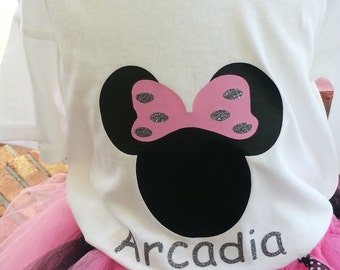 Children Personalize Minnie Mouse T shirt  - Girls Custom Minnie Mouse clothing- Toddler costume -Tutu skirt pink black- Birthday - Dance