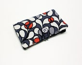 Grey Red Black Geometric Fabric Business Card Holder, with White Lg Dots on Black - Credit Card Holder, Cloth Card Holder, Gift Card Holder