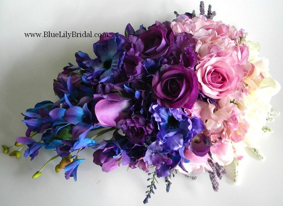 Blue Purple And Pink Wedding Bouquets Ivory Orchid Violet Ombre Shaded