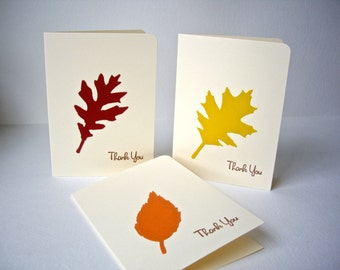 leaf thank you cards,fall wedding cards, autumn thank you cards, fall thank you cards, leaf stationery, harvest cards,hostess gift, 10 cards