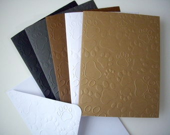paw print cards, paw notecards, paw print embossed notecards, paw print cards, paw embossed cards,  paw thank you cards, animal rescue cards