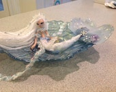 RESERVED for Sharnai  Arctic mermaid princess ice crystals snowflake theme in glass oyster shaped dish