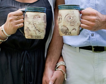 Beachcomber Ceramic Coffee Mugs-16oz-Personalized-Couple Wedding-HIS/HERS